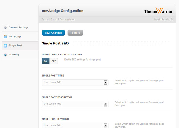nowLedge - WarriorPanel SEO SIngle Post / Page Options