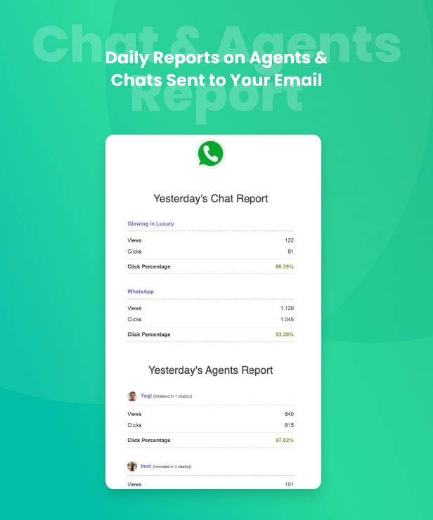 WhatsApp agent daily email report sent to your email