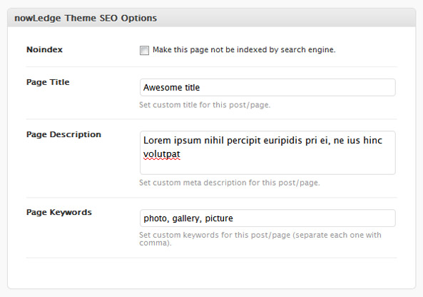nowLedge - WarriorPanel SEO Meta Box in Every Add / Edit Post or Page