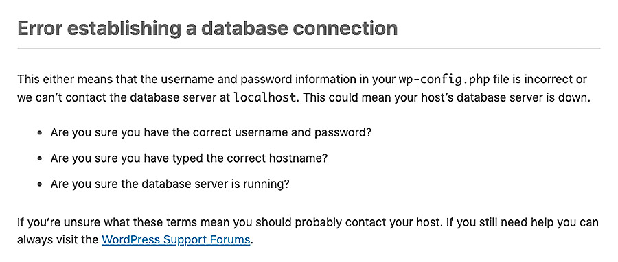 Error establishing database connection in WordPress
