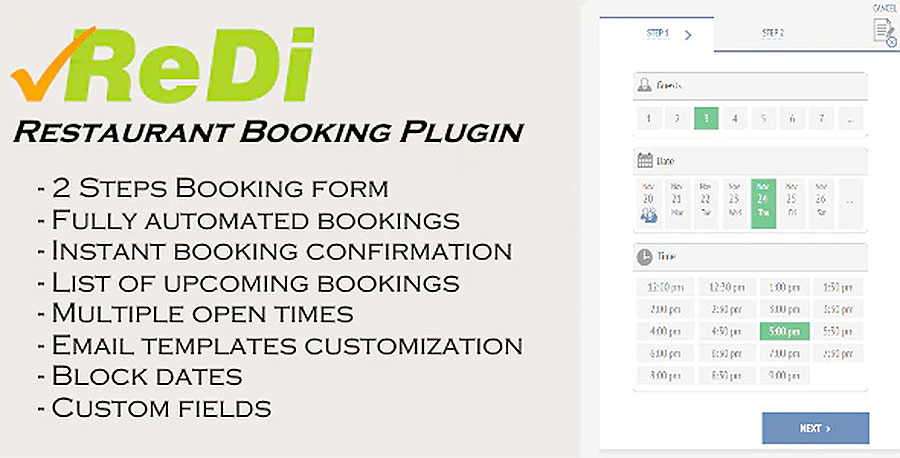 ReDi Restaurant Booking plugin